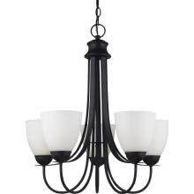 Sea Gull Canada 31271-839 - Uptown Five Light Chandelier in Blacksmith with Satin Etched Glass