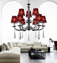 Crystal World 5079P28C-6+3 (Red) - 9 Light Chrome Up Chandelier from our Dina collection