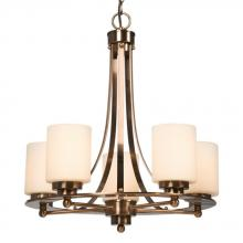 Galaxy Lighting 800423ACP - Five Light Chandelier - Antique Copper Patina w/ White Glass