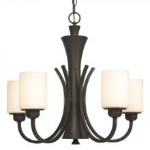 Galaxy Lighting 810343ORB - Five Light Chandelier - Oil Rubbed Bronze with White Glass