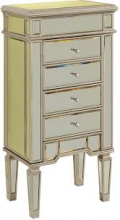 Elegant MF1-5102SC - 4 Drawer Jewelry Armoire 20 in. x 15 in. x 40 in. in Silver Leaf