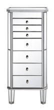 Elegant MF6-1003SC - 7 Drawer Jewelry Armoire 18 in. x 12 in. x 41 in. in Silver Clear