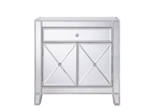 Elegant MF6-1034 - 1 Drawer 2 Doors Cabinet 28 in. x 13-1/4 in. x 28-1/4 in. in Silver paint