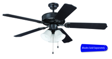 "Craftmade C205FB - Pro Builder 205 52"" Ceiling Fan with Light in Flat Black (Blades Sold Separately)"