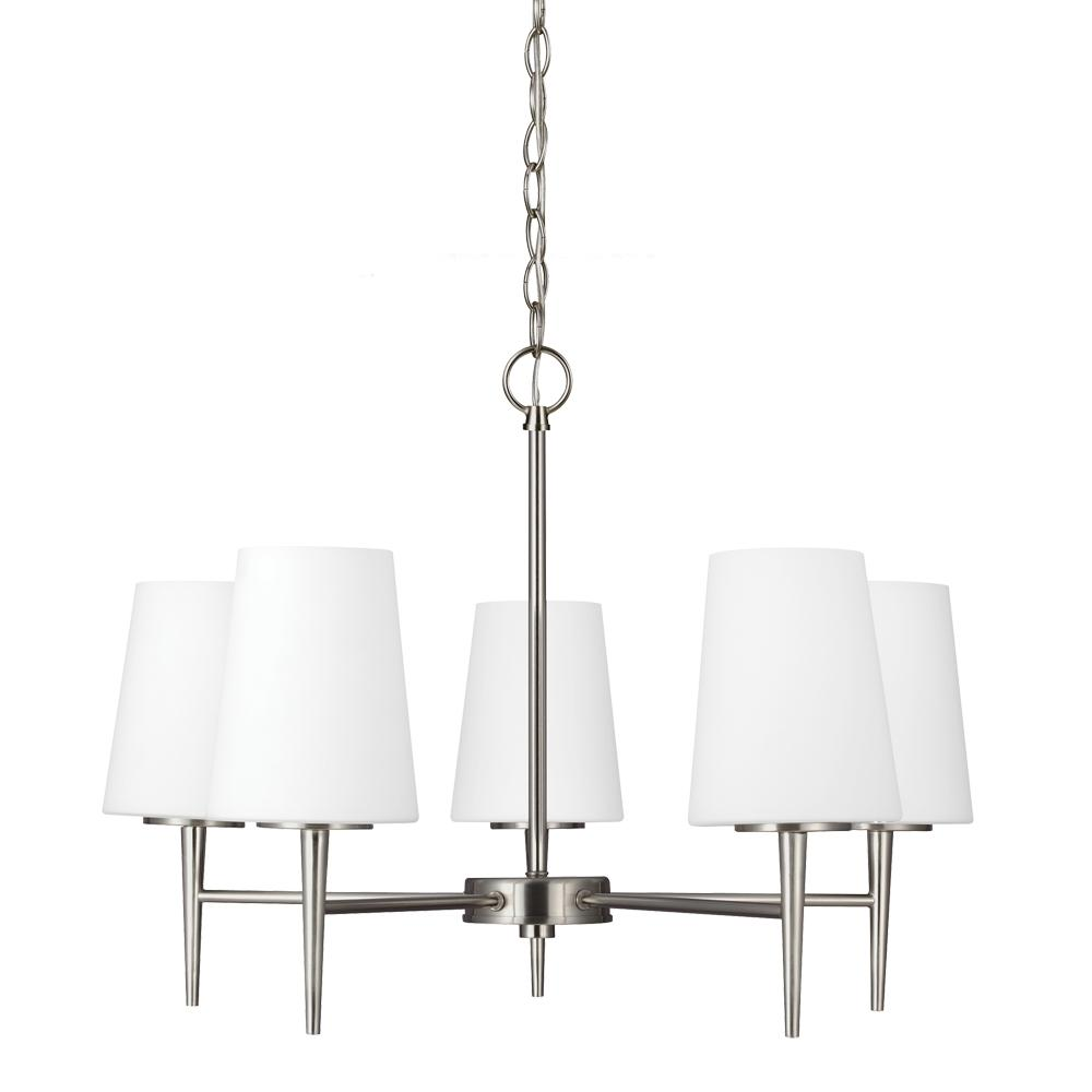 Fluorescent Driscoll Five Light Chandelier in Brushed Nickel with Etched Glass Painted White Inside