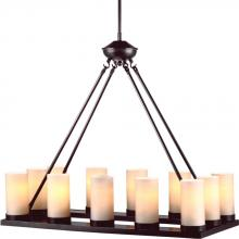 Sea Gull Canada 31588BLE-710 - Fluorescent Ellington Twelve Light Rectangle Chandelier in Burnt Sienna with Cafe Tint Glass
