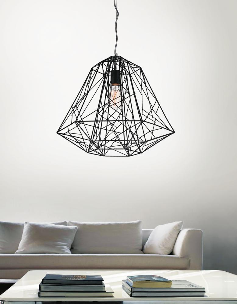 1 Light Down Pendant with Black finish