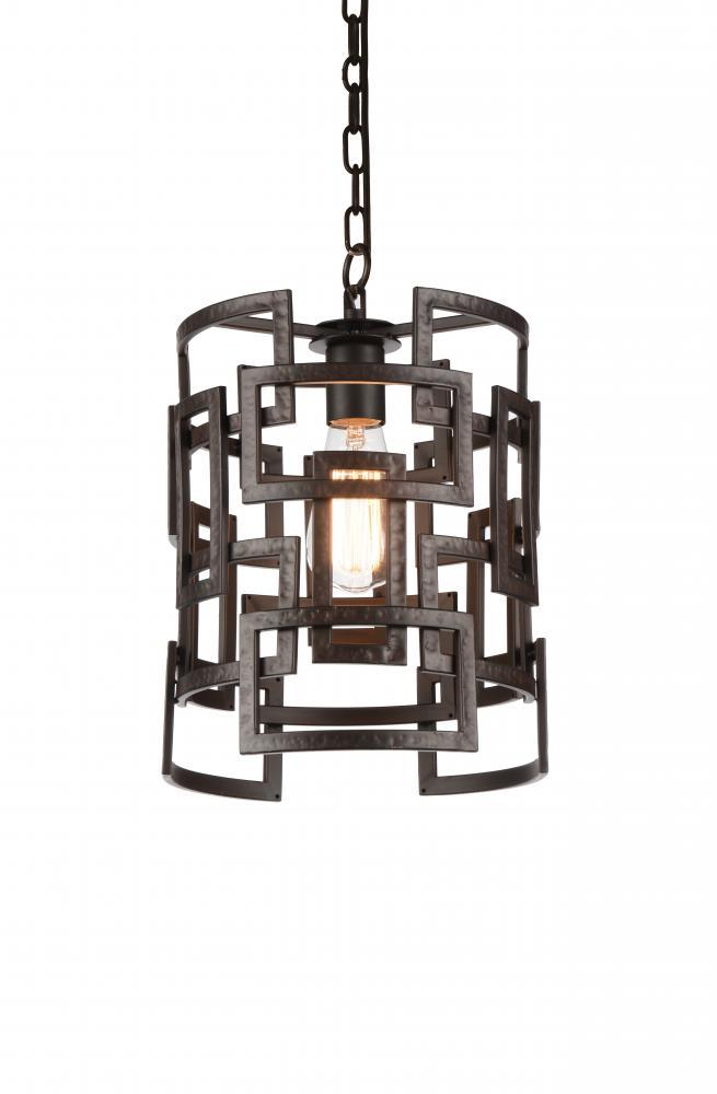 1 Light Down Chandelier with Brown finish