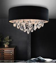 Crystal World 5443C14C (Black) - 3 Light Chrome Drum Shade Flush Mount from our Dash collection