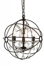Crystal World 5465P13-DB-3 - 3 Light Up Mini Chandelier with Brown finish