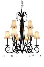 Crystal World 9814P30-9-120 - 9 Light Up Chandelier with Espresso finish