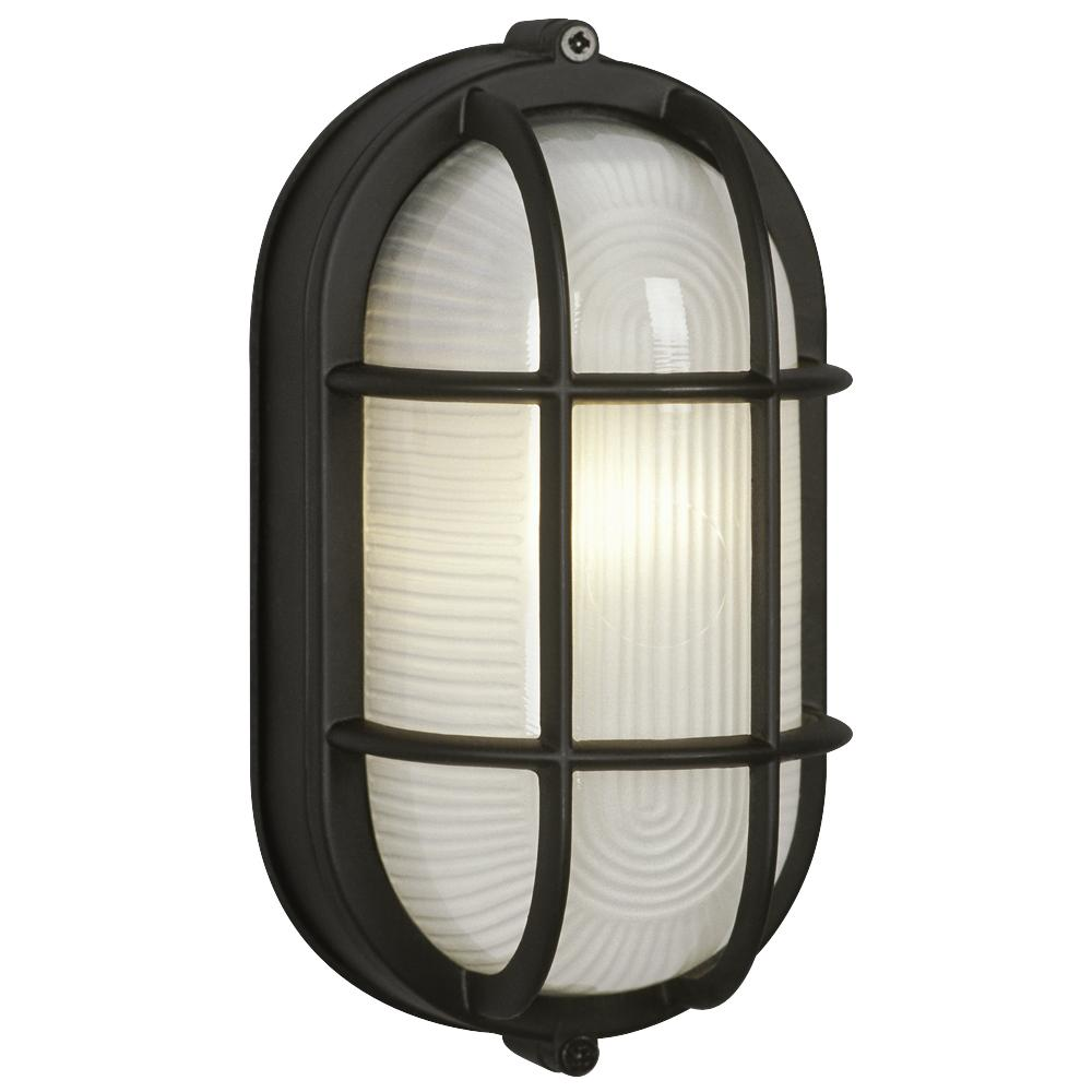 Paradise Lighting in Mississauga, Ontario, Canada,  6UHQD, Cast Aluminum Marine Light with Guard - Black w/ Frosted Glass,