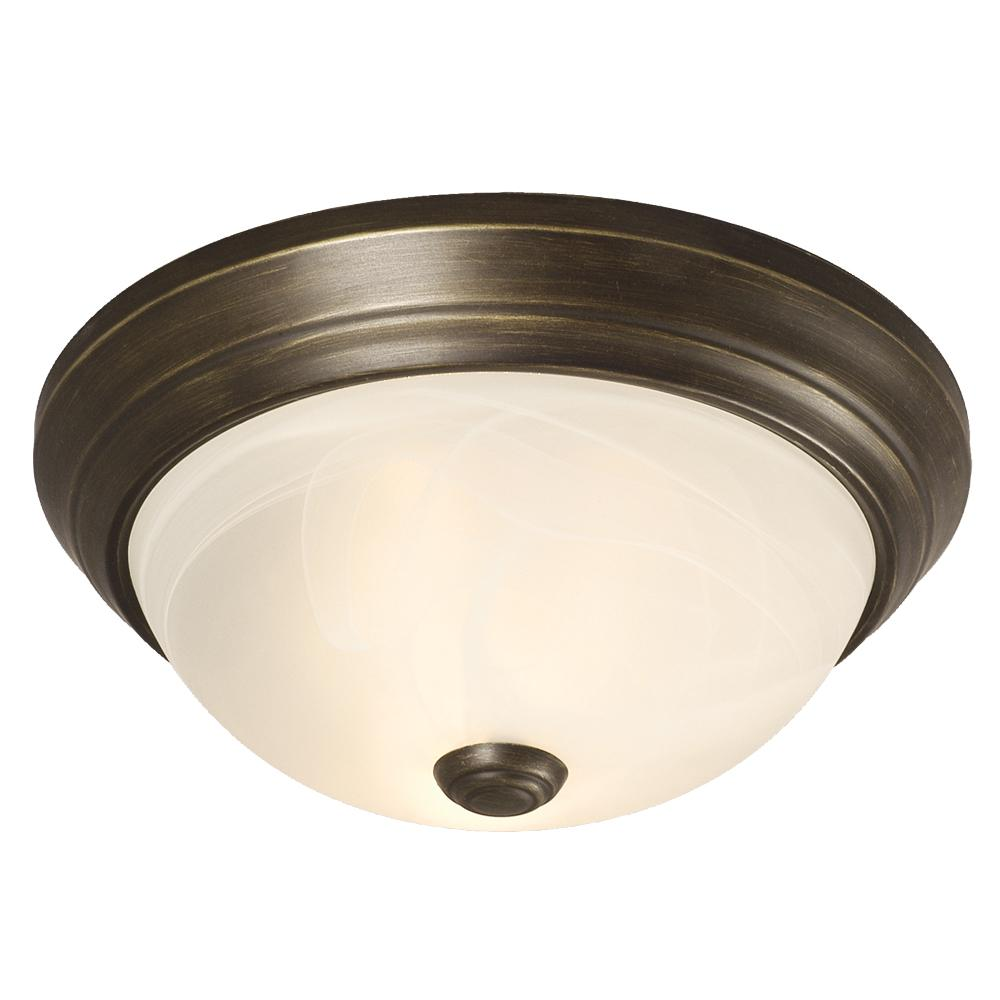 Flush Mount - Oil Rubbed Bronze W/ Marbled Glass
