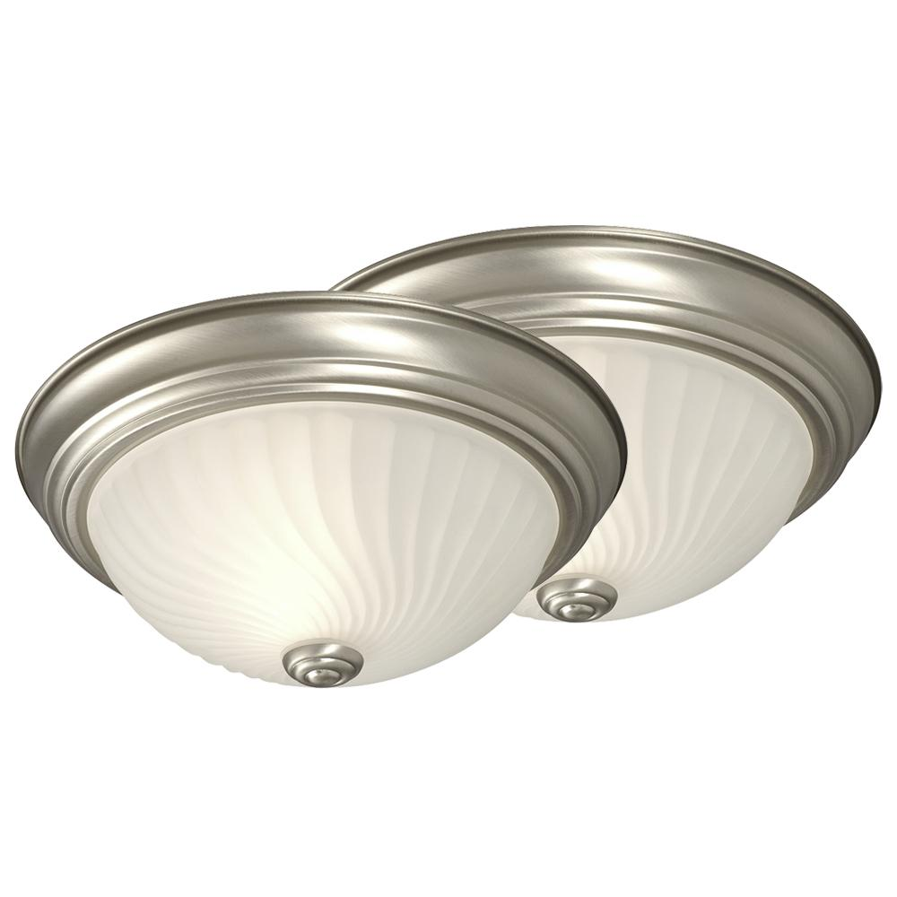 Flush Mount Twin Pack - Pewter W/ Frosted Swirl Glass