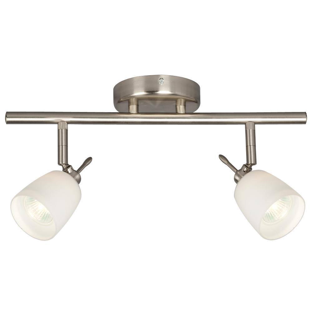 Paradise Lighting in Mississauga, Ontario, Canada,  6UQH6, Two Light Halogen Track - Brushed Nickel with White Glass,