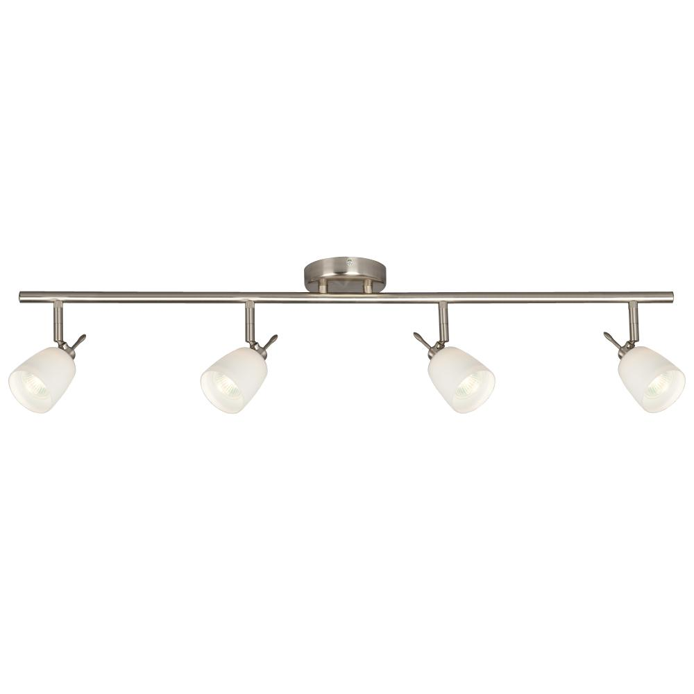 Four Light Halogen Track - Brushed Nickel With White Glass