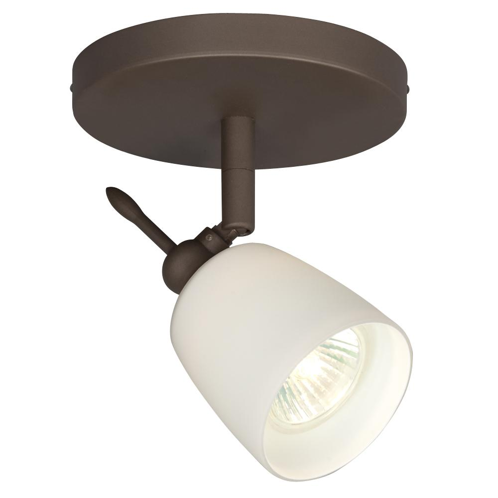 Single Halogen Monopoint - Oil Rubbed Bronze With White Glass