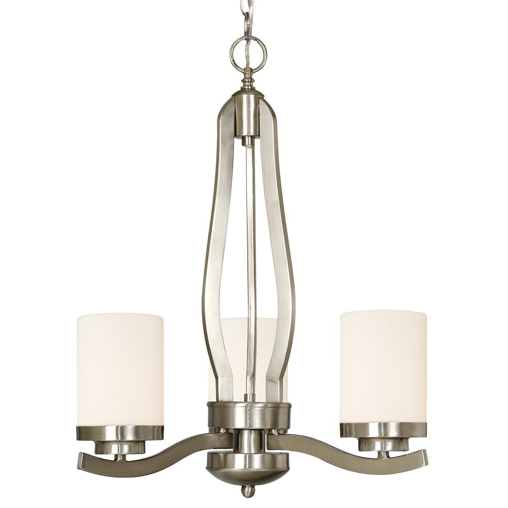 Three Light Nickel Candle Chandelier