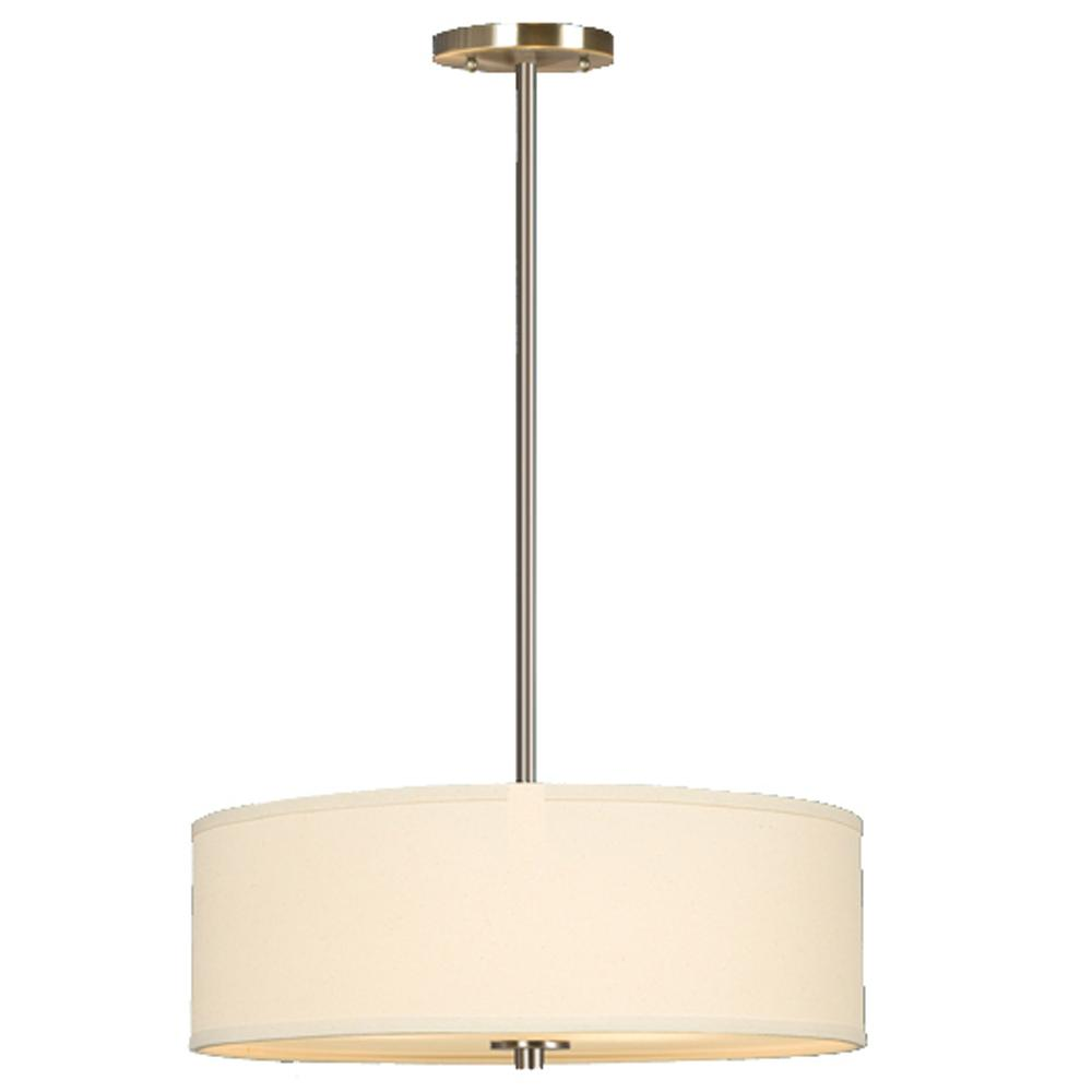 "Pendant W/6"",12"",18"" Extension Rods - Brushed Nickel With Off-White Linen Shade"