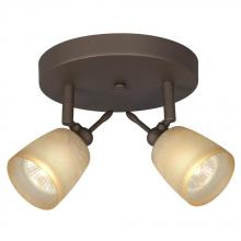 Galaxy Lighting 755618ORB/TS - Two Light Halogen Monopoint - Oiled Rubbed Bronze with Tea Stain Glass