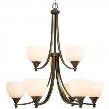 Galaxy Lighting 800909ORB - Nine Light Chandelier - Oiled Rubed Bronze w/ White Glass
