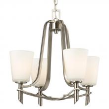 Galaxy Lighting 811471BN - Four Light Chandelier - Brushed Nickel with Satin White Glass