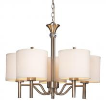 Galaxy Lighting 813043BN - 5-Light Chandelier - Brushed Nickel With Off-White Linen Shades
