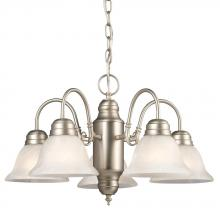 Galaxy Lighting 851870PT - Five Light Chandelier - Pewter W/ Marbled Glass