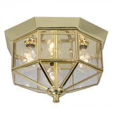 Galaxy Lighting 860809H - Flush Mount - Polished Brass w/ Clear Glass