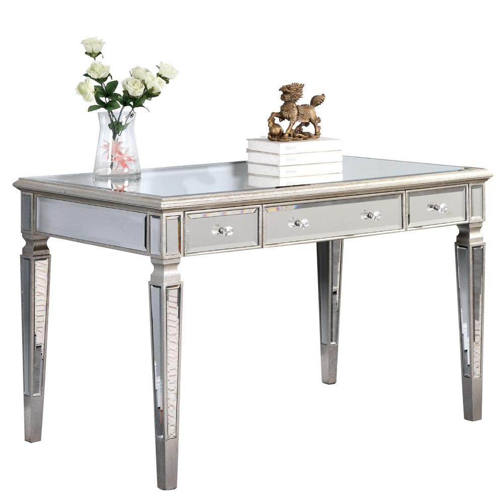 Paradise Lighting in Mississauga, Ontario, Canada,  HJX3N, 3 Drawer Desk 48 in. x 28 in. x 30 in. in Silver Leaf, Florentine
