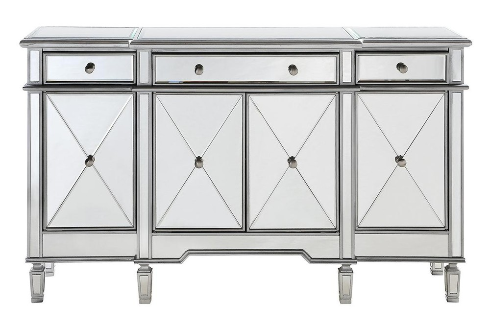 Paradise Lighting in Mississauga, Ontario, Canada,  HQZEU, 3 Drawer 4 Door Cabinet 60 in. x 14 in. x 36 in. in Silver Clear, Contempo