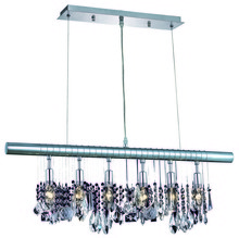 Elegant 3100D30C/RC - 3100 Chorus Line Colloection Chandelier D:30in H:10in Lt:6 Chrome Finish (Royal Cut Crystals)