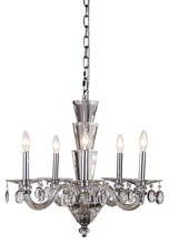 Elegant 7870D23C/RC - 7870 Augusta Collection Chandelier D:23in H:18in Lt:5 Chrome Finish (Royal Cut Crystals)