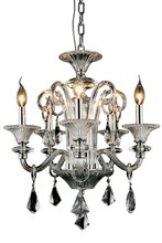 Elegant 7871D20C/RC - 7871 Aurora Collection Chandelier D:20in H:24in Lt:5 Silver Shade Finish (Royal Cut Crystals)