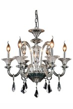 Elegant 7871D24C/RC - 7871 Aurora Collection Chandelier D:24in H:24in Lt:6 Silver Shade Finish (Royal Cut Crystals)