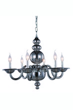 Elegant 7872D27SS - 7872 Champlain Collection Chandelier D:27in H:22in Lt:6 Siver Shade Finish