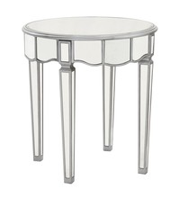 Elegant MF6-1023S - Round Lamp Table D24 in. x 26 in. in Silver paint