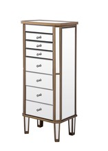 Elegant MF6-1103GC - 7 Drawer Jewelry Armoire 18 in. x 12 in. x 41 in. in Gold Clear